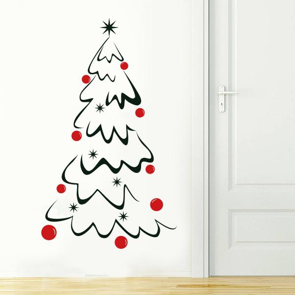 Adesivi Murali Natale.Albero Di Natale Adesivo Murale 55x93 Cm