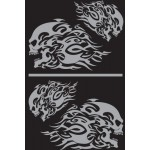 Adesivi sagomato-Teschio con fiamme