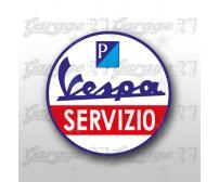 Vespa Servizio blu- Adesivo sagomato da 10 cm